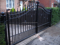 Customized Residential metal Security Gate/ Garden decorative privacy cast aluminium wrought iron fence and gates in stock