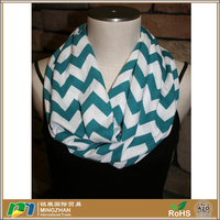 Nice Soft Material Cotton And Jersey Loop Striped Chevron Infinity Scarf