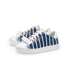 OEM&ODM blue stripe genuine leather lace up bowknot design kid casual shoes