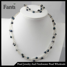 Black cheap cultured pearl sets/Real freshwater pearl set