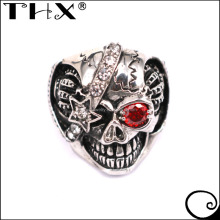 Custom Made Casting Stainless Steel Gothic Biker Skull Ring