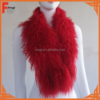 dyed mongolian fur red color tibet lamb scarf