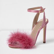 OEM ODM 2018 trendy fashion design stilettos feather latest high heel shoes ladies fancy sandal