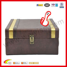 2013 imitation leather wine boxes brown leather boxes in lock design wine carrier embossed for gift