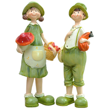 2pcs Country Lover Girl Boy Candy Resin Crafts Wedding Decoration Love Cute Couple Figurine