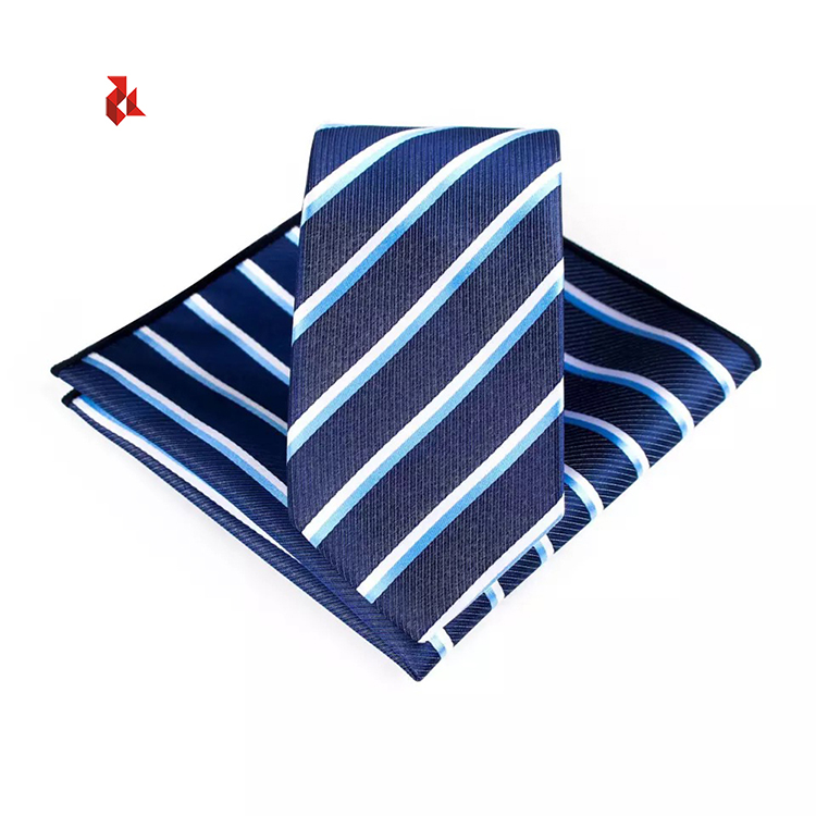 Men's Polka Dots Tie Hanky Sets Microfiber Jacquard Striped Neck Ties Gift