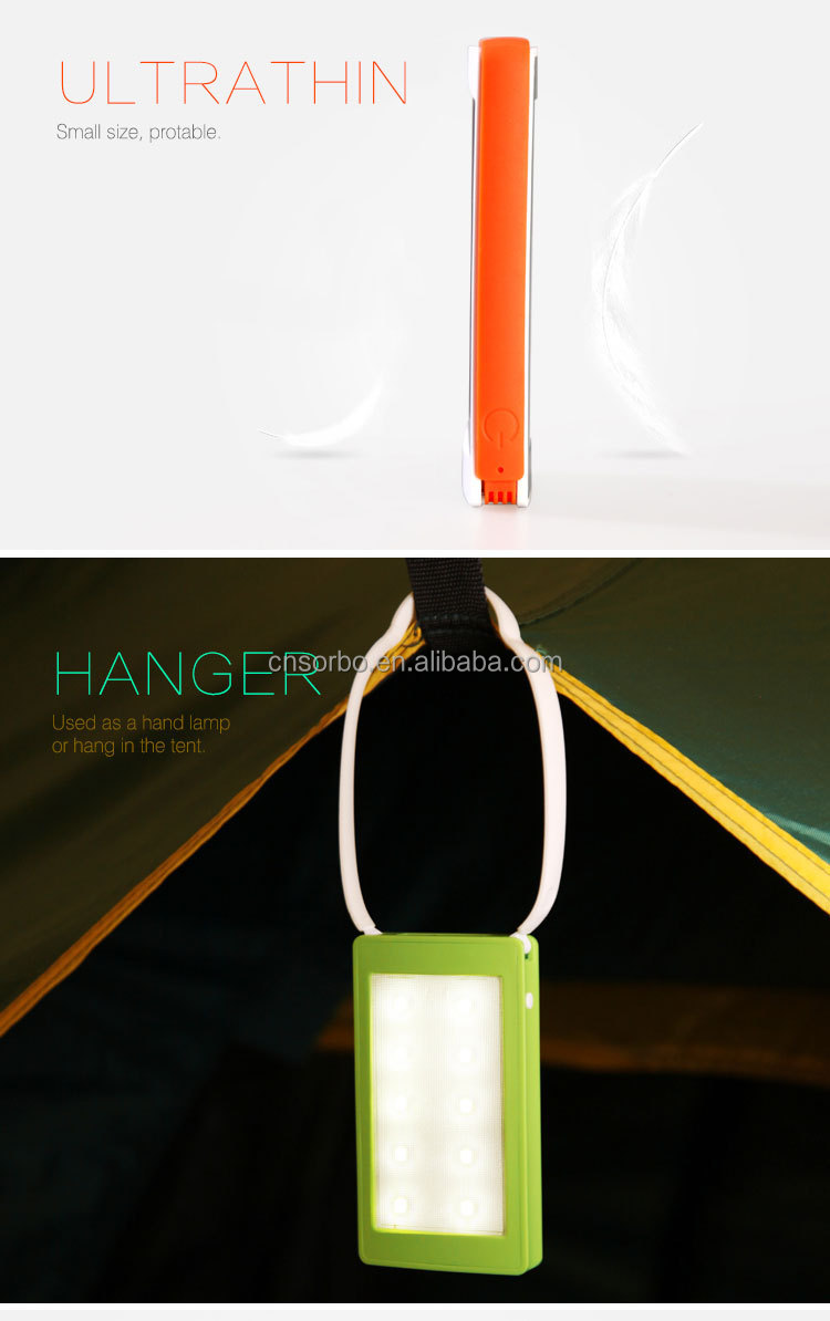 Portable Solar Powered LED Light / Emergency Mini LED Tent Lamp With Silicone Belt Hanging