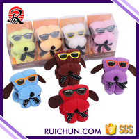wholesale 100% cotton dog shape design gift cake towel