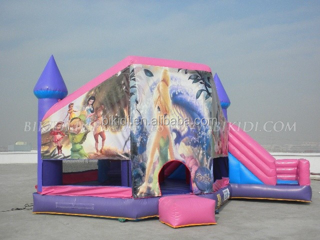 printing art panel inflatable bouncer castle, inflatable bouncer with slide, inflatables for girl B2096