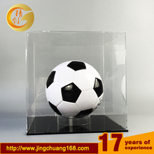Wholesale large desktop clear football helmet display stands acrylic soccer ball display case