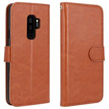 Handmade Retro Leather Wallet Case Slim Flip Magnetic Durable Kickstand & Multi Card Slots Cover for Samsung S9 Plus