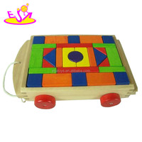 wooden block car,car toy funny toy wooden block toy,wooden toy block cart W13C016