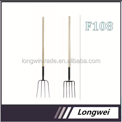agricultural tool Steel farming pitch fork with long wooden handle