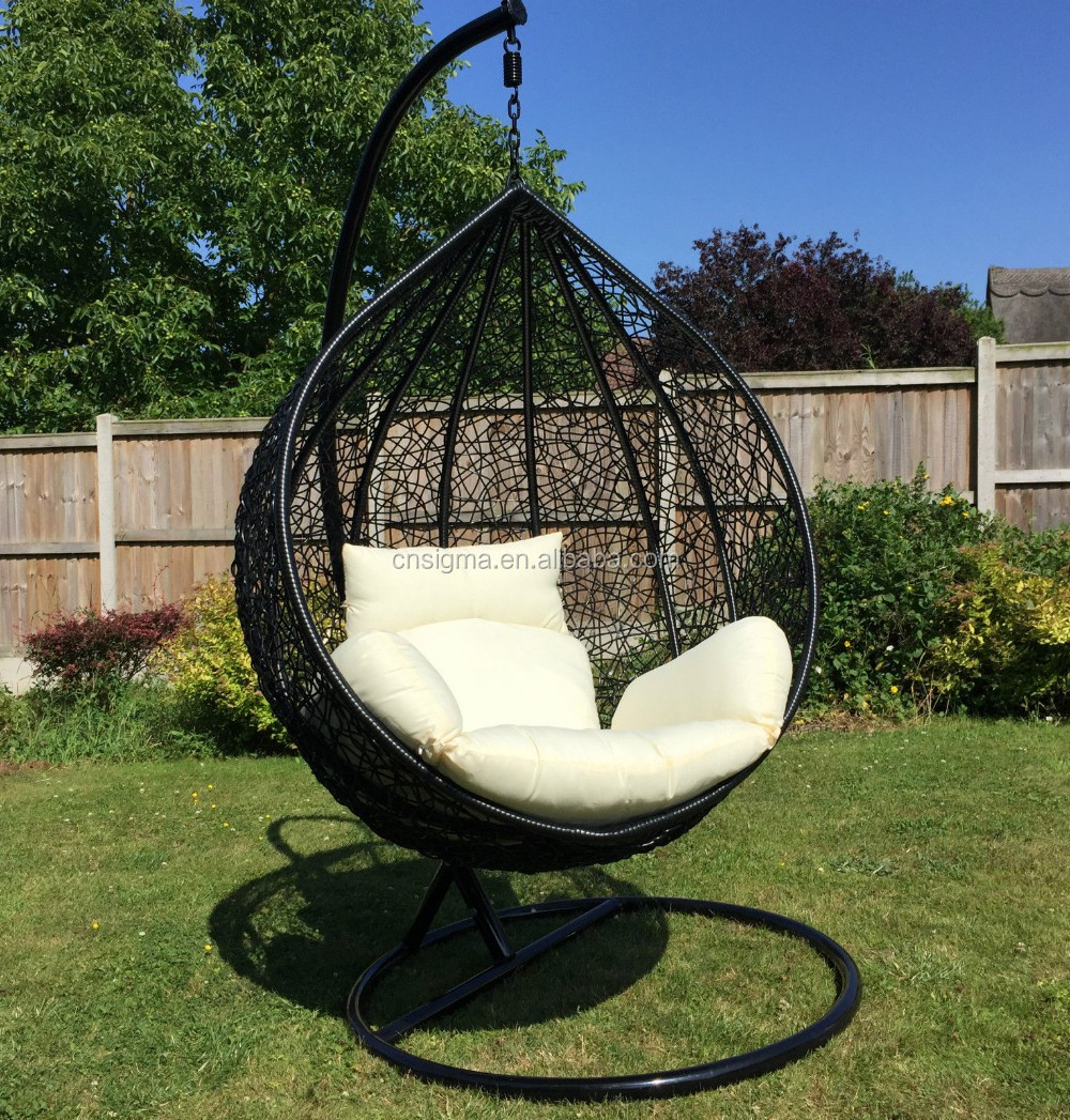 2016 indoor or outdoor black rattan adult swing chair