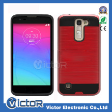 New Mobile phone American metropcs Mars Metalic rubber +PC combo 2in1 case for LG K7/M1