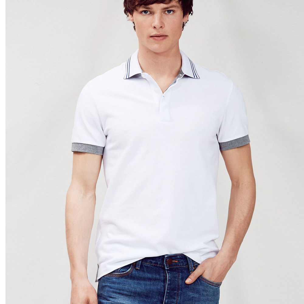 2015 free sample men 39 s polo shirt stripe collar and cuff Man in polo shirt