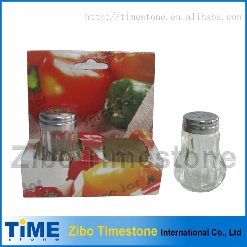 High quality 2 pcs in one glass spice jar set