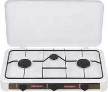 european type gas range with three burner gas cooking range