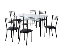 1+6 modren style metal frame dining table and chairs for outdoor furniture