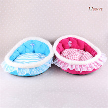 Fresh And Cute Soft Fabric Dog House Detachable Small Size Round Dog House Pink Princess Dog House