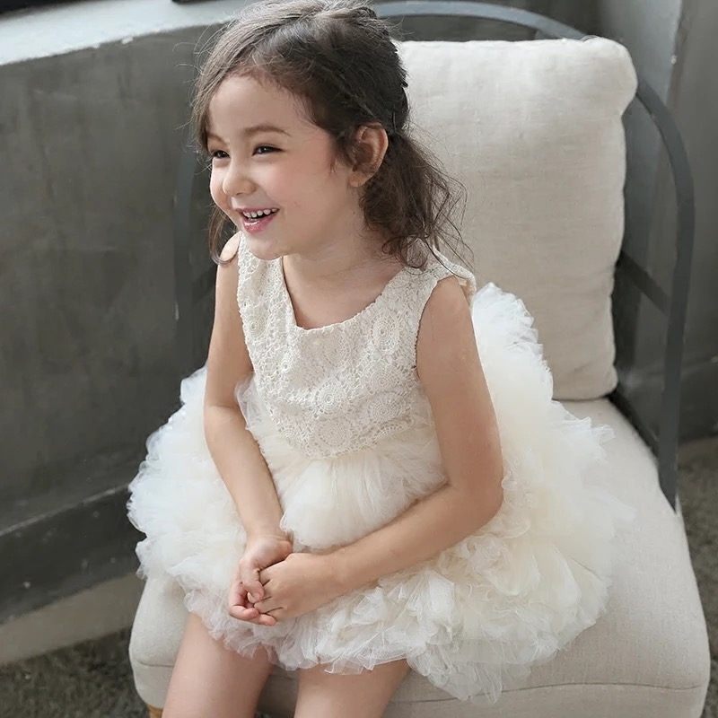 Pizzo e maniche baby girl chiffon tutu dress