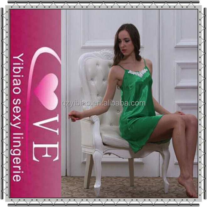2015 Green Fashion Show Sexy Babydoll New Arrival Women Silk Nighty Babydoll Wholesale Silk Babydolls Satin Nighties