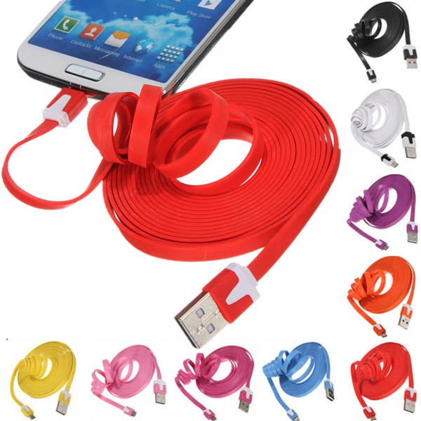 3 meter USB data micro 5 pin flat noodle cable for Android phones
