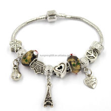 Customized restoring ancient enamel metal beads, Eiffel charms stainless bracelet