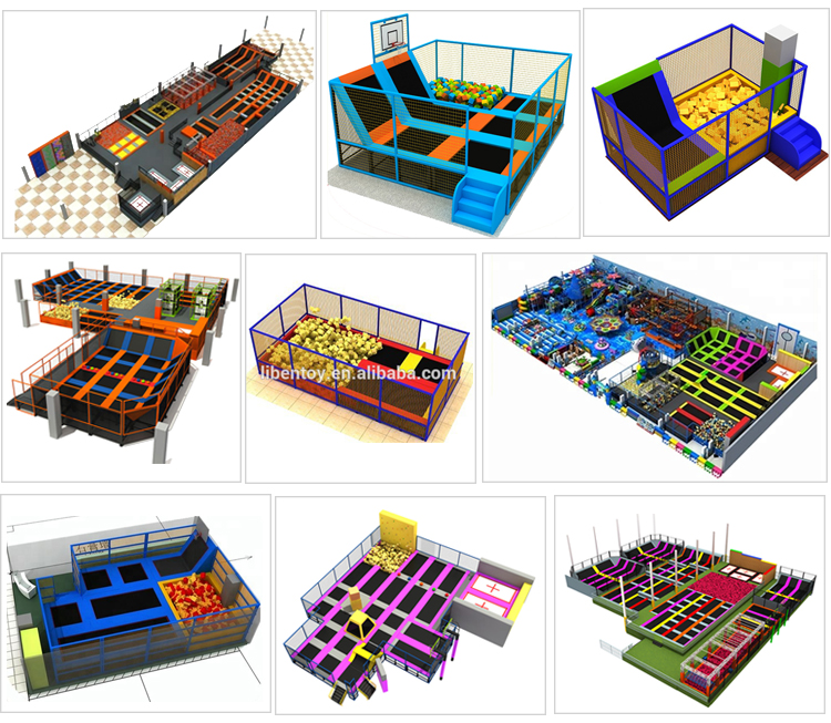 Big Trampoline Park With Ninja Course And Various Games