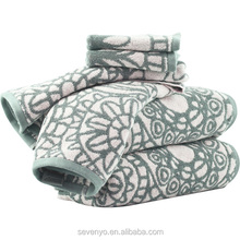 promotion 100% cotton luxury custom terry towel set with jacquard