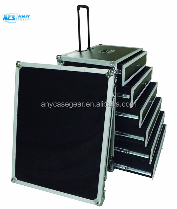 drawer cases/ Aluminum flight case with drawers with wheels and heavy-duty hardware