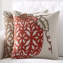 Suzani Style Poly Linen Embroidered Indian Outdoor Furniture Cover Throw Pillow