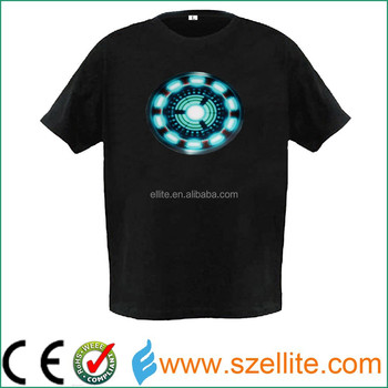 Hot sell 2017 year sound activated fashion ironman led tshirt