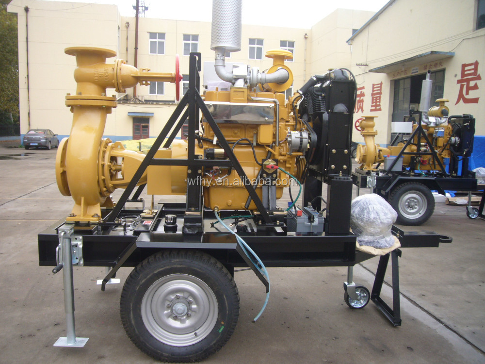 diesel motor water pump set with trailer for irrigation