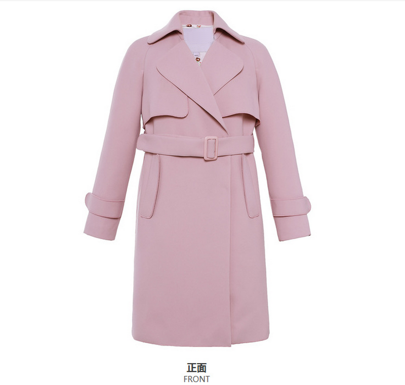 2016 China wholesale women long sleeve pink trench in midi length with self-tie belt, women coat with lapel collar in winter