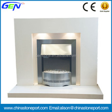Modern White Marble Fireplace Mantel