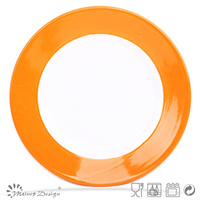 "2013 hot 10.5"" crockery round orange color band ceramic dinner plate"
