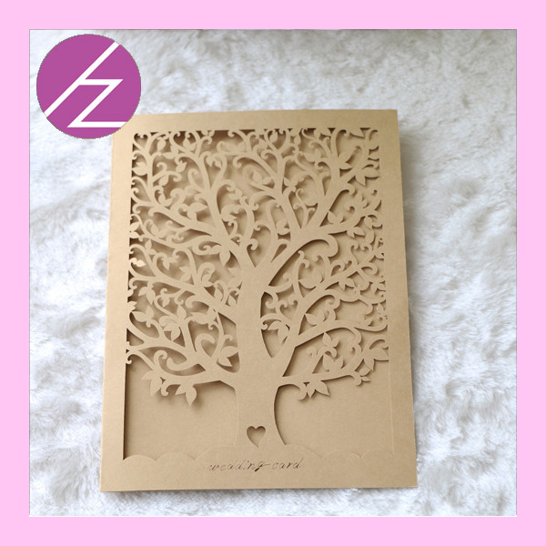 Love Tree 2016 Latest Design Laser Cut Wedding Invitation Card Price QJ-31
