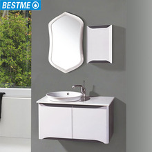 Made in China White Color Oak Wood Space Saving Wall Mounted Hotel Bathroom Cheap Modern Bathroom Vanity
