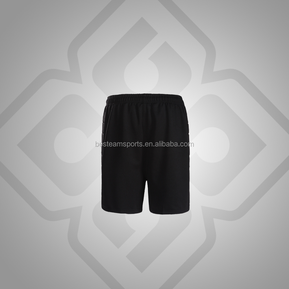 Wholesale durable quick drying soccer goalkeeper shorts with padded sides