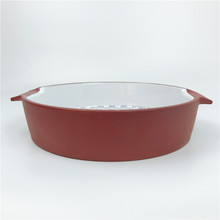Food <strong>Plate</strong> Ceramic Full Decal Round Bakeware with Double Hands