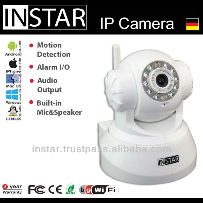 INSTAR IN-3011 Micophone, WiFi, indoor IP Camera with IR Nightvision, Pan, Tilt, Speaker