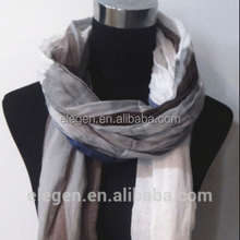 Long Cotton Polyester Checked Scarf