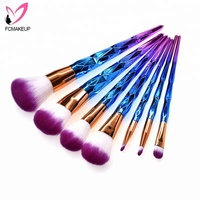 7 Pieces Blue New Soft Smooth Synthetic Makeup Kit Personalized Cosmetics Professional Make Up Set Brush