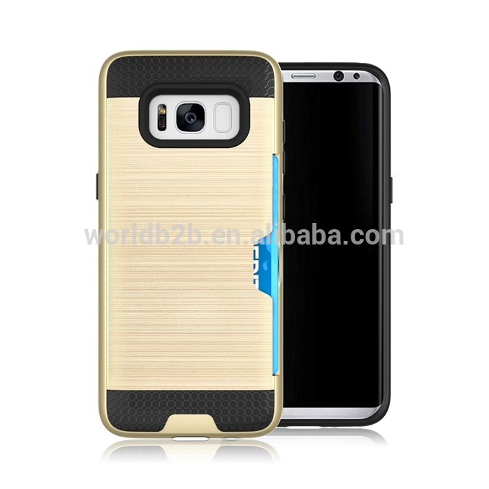 Brushed PC+TPU Armor Shockproof Rugged Card Stroage Case for Samsung S8