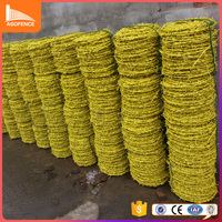 BWG14 diameter traditional twisted pvc coated barbed wire