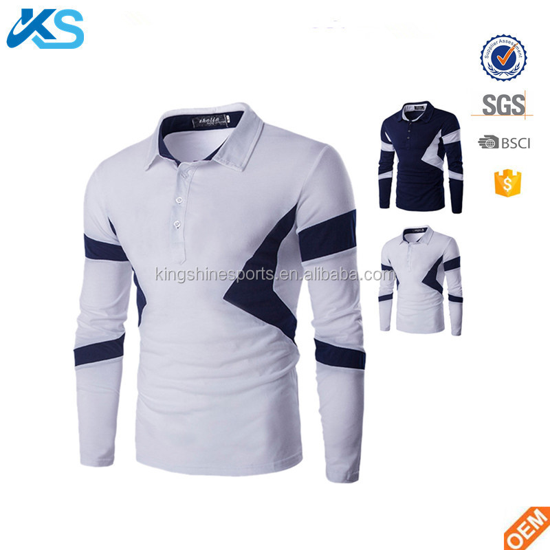 High quality 95% polyester 5% cotton jersey long sleeve two tone slim fit black and white men polo shirt