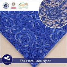 S402 wholesale fall plate rose royal blue african 3d rose flower lace fabric