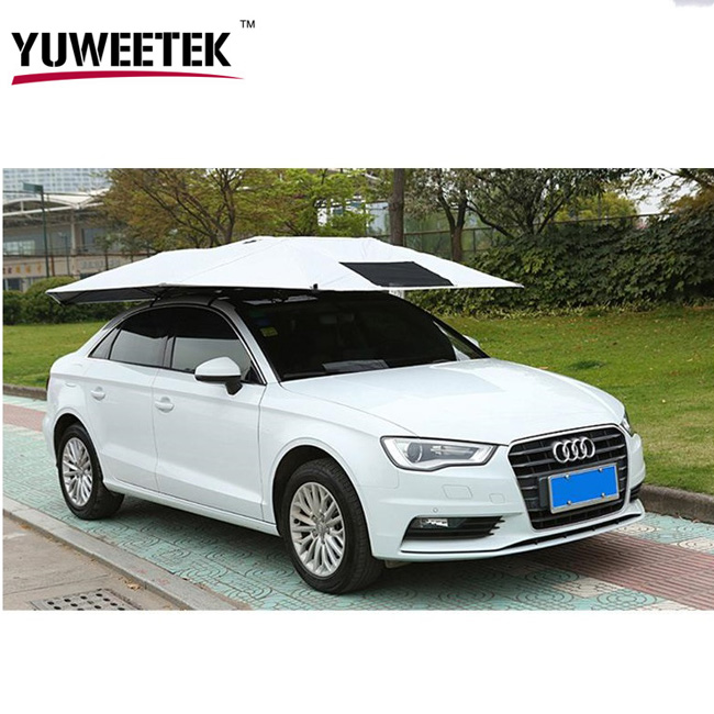 2017 Unique design outdoor Portable Smart Remote Control automatic car sunshade umbrella cover From YuWeeTek Industrial factory