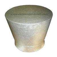Eco-friendly handpainted vietnamese bamboo lacquer table in white silver leaf